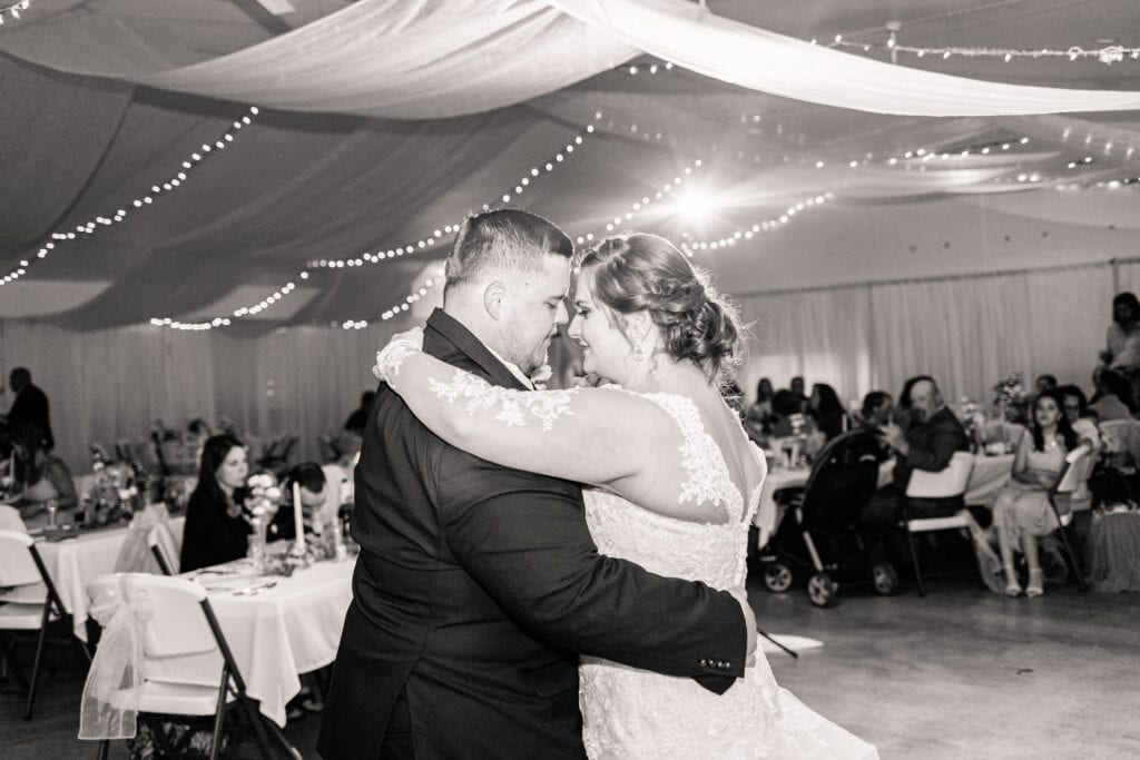 West Virginia wedding couple, bride and groom, shares first dance in Thomas, West Virginia.   Thomas, WV Wedding  Photographed by Katelyn Workman Photography