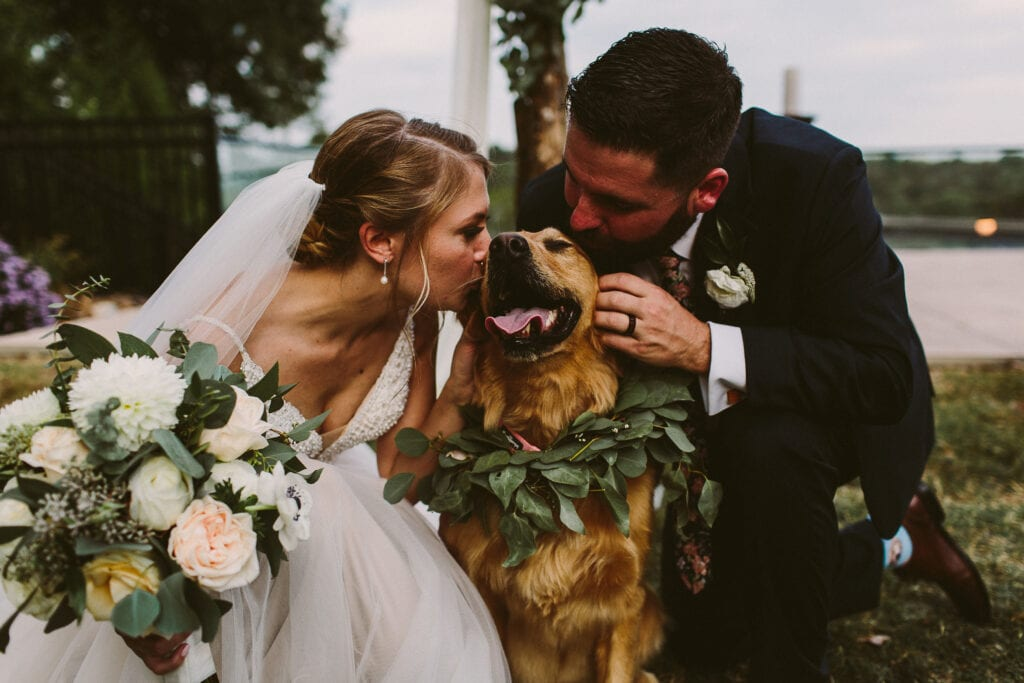 WV Wedding couple, bride and groom, on wedding day with dog in Shepherdstown. Photographed by Kelci Alane Photography.