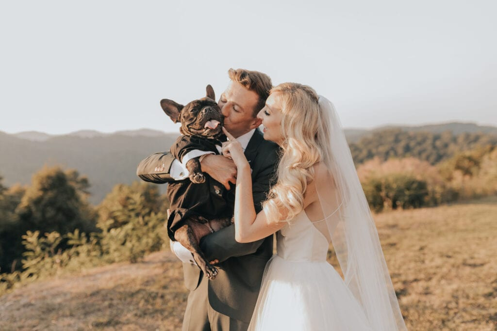 West Virginia wedding couple, bride and groom, with dog at Pill Hill Farm and Vineyard Wedding.  Webster Springs Wedding West Virginia Wedding Pig Hill Farm and Vineyard Wedding  Photographed by Lexi Truesdale Photography